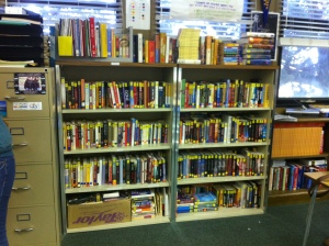My classroom library. The books are in double rows and organized by genre.
