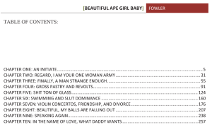 BAGB table of contents